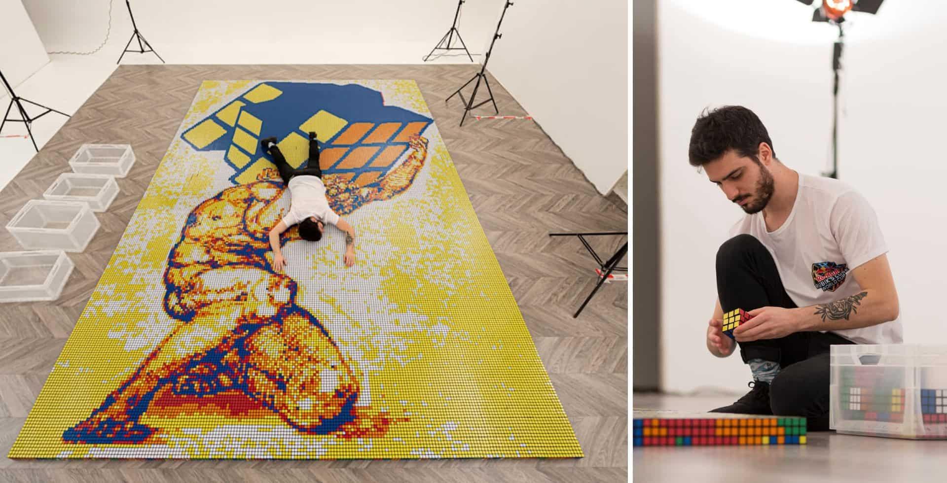 Un artista italiano creó un mosaico de Atlas utilizando más de 6000 cubos Rubik