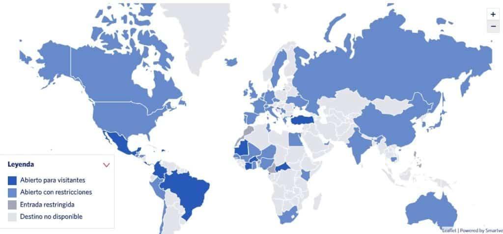 Mapa interactivo de la aerolínea Delta