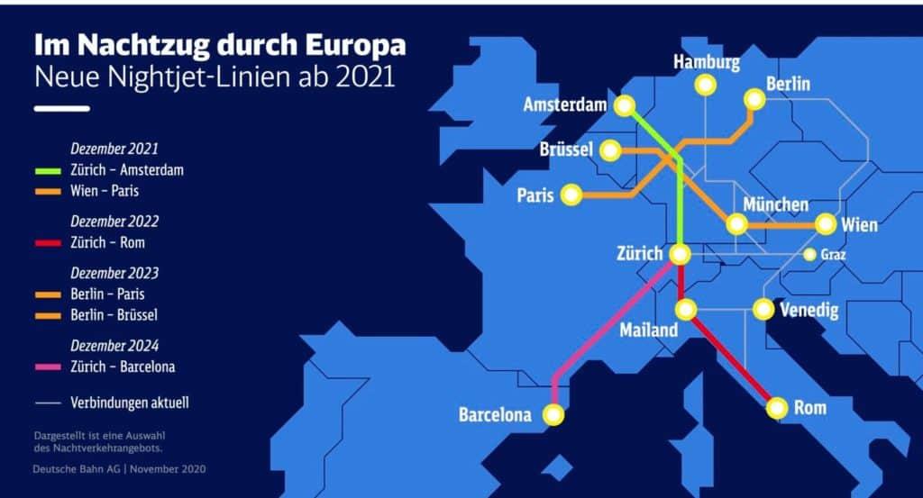 Europa contará con nuevos trenes nocturnos que conectarán 13 destinos diferentes