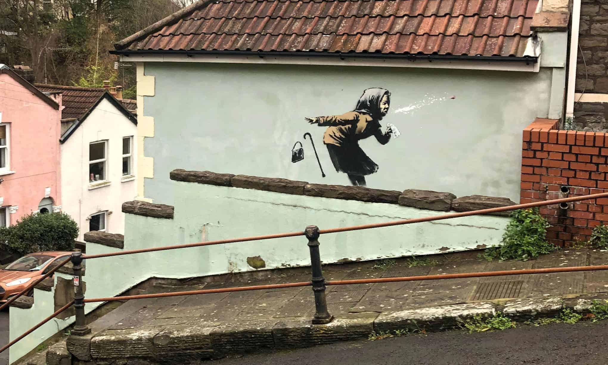 Una nueva obra de Banksy apareció en una pared de Bristol, Inglaterra