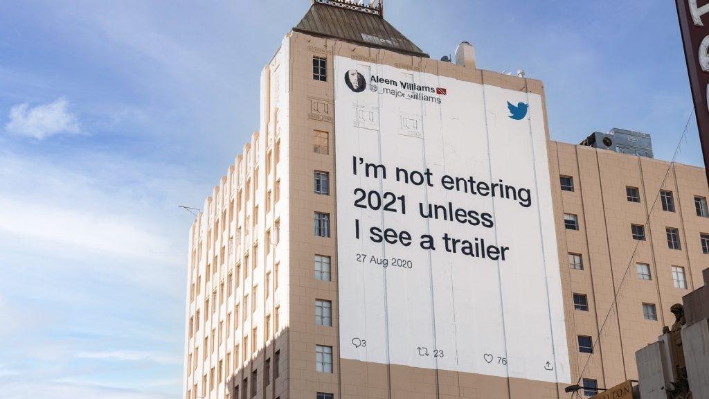 Twitter anuncia en la vía pública los tweets reales de usuarios que usaron el sentido del humor para afrontar este 2020