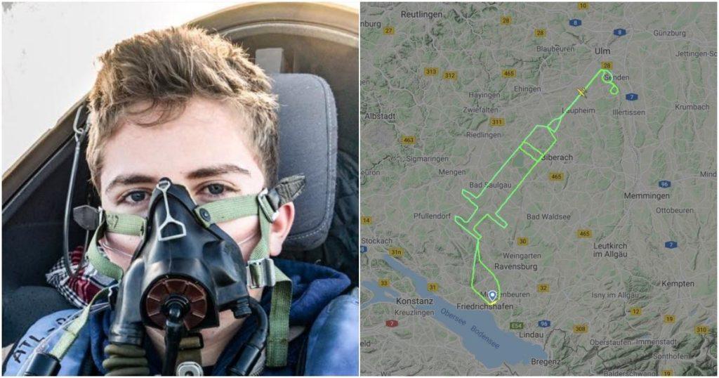 Alemania: Piloto traza un recorrido en forma de jeringa en el cielo para celebrar el comienzo de la vacunación contra el COVID-19 en Europa