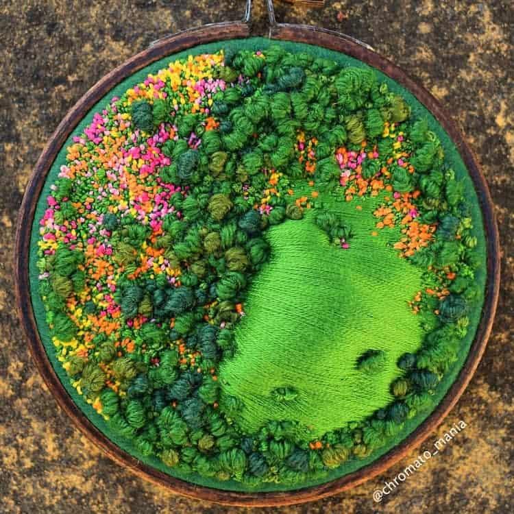 paisajes Estos bordados 3D de paisajes capturan coloridas vistas aereas de la Inglaterra rural 10