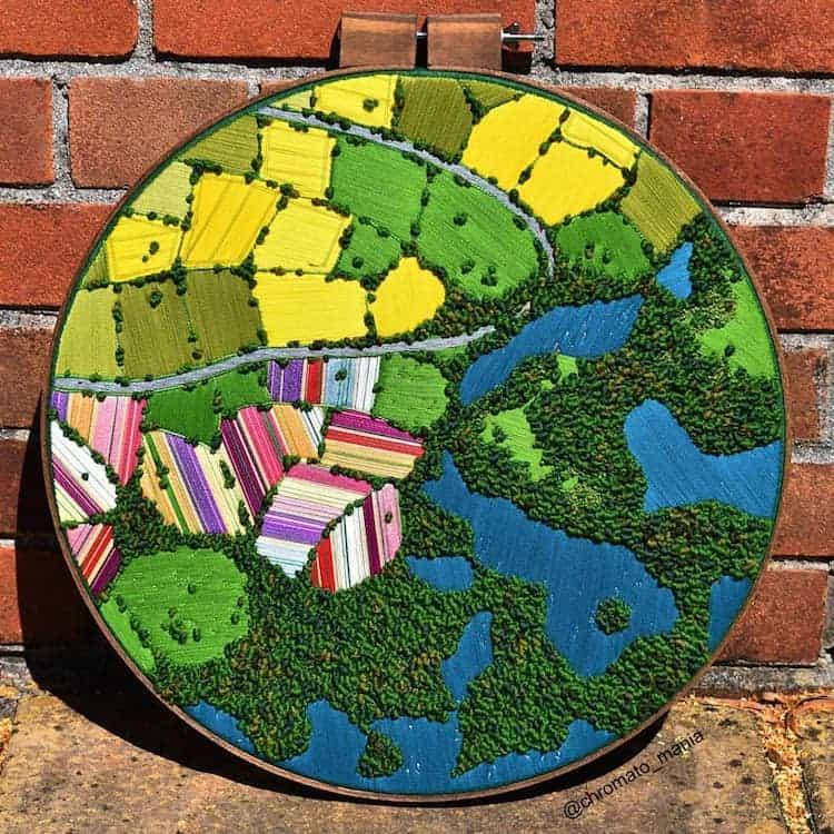 paisajes Estos bordados 3D de paisajes capturan coloridas vistas aereas de la Inglaterra rural 4