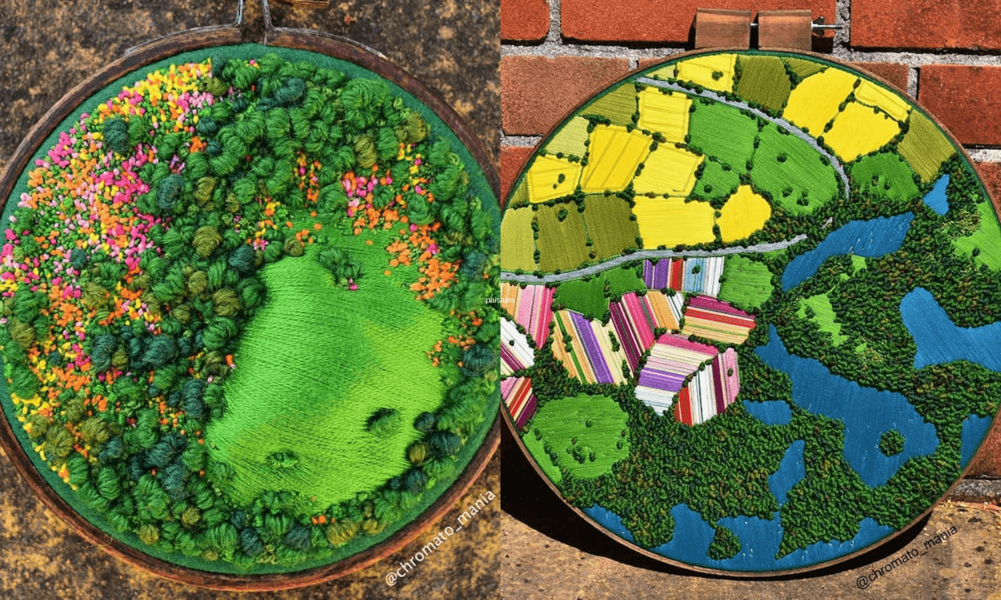 Estos bordados 3D de paisajes capturan coloridas vistas aéreas de las zonas rurales de Inglaterra 1