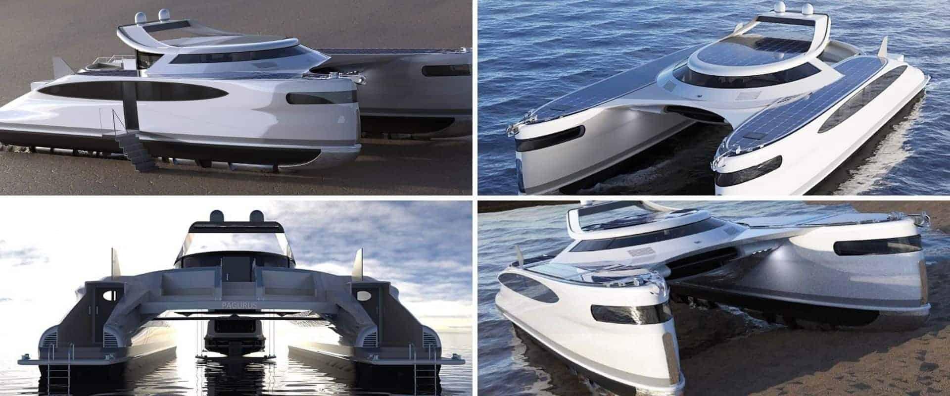 Diseñan un catamarán de 25 metros de largo, que se traslada por agua y por tierra y funciona con energía renovable