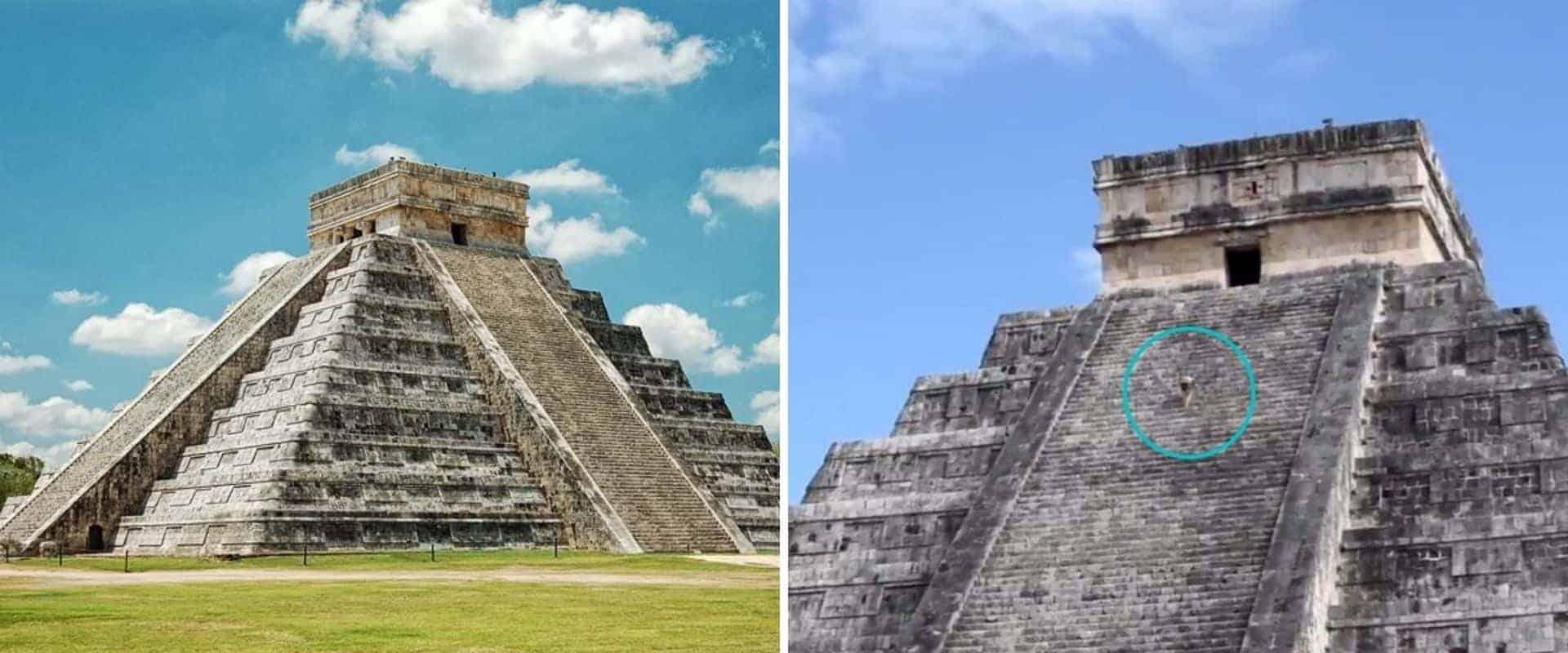 Una mujer violó la seguridad y subió a la pirámide de Kukulkán, en México, en un intento de esparcir las cenizas de su marido