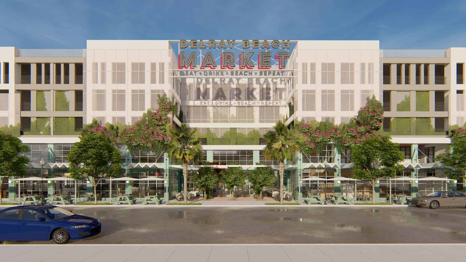 Exterior rendering of Delray Beach Market, one of America's newest food hall experiences by Menin Development