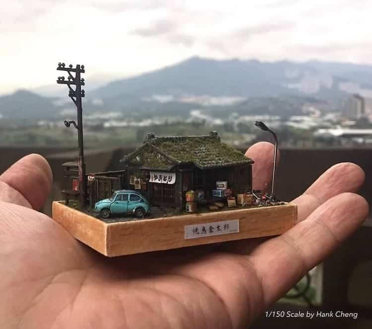 Este artista taiwanés crea versiones diminutas de lugares reales que ha visitado... ¡y son representaciones adorables!