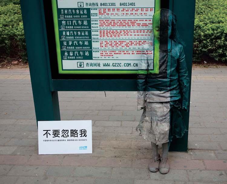 imagen invisibilidad de la pobreza Una campana de UNICEF en China muestra la invisibilidad de la pobreza a partir de pinturas mimetizadas con el paisaje urbano 3