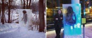 Una escultura de un cavernícola en un bloque de hielo apareció en Minneapolis, Estados Unidos