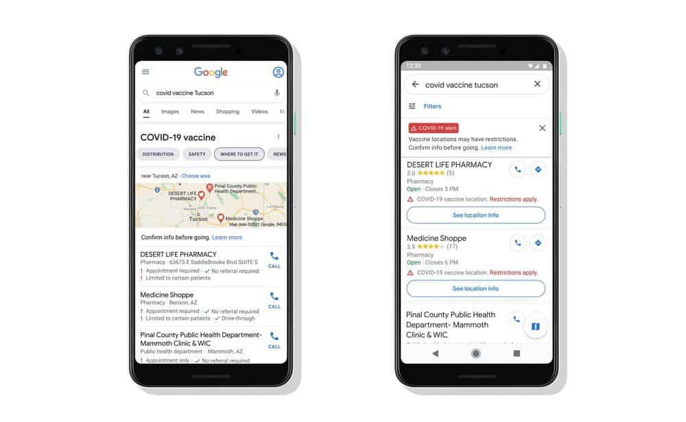 Estados Unidos: Google Maps mostrará los sitios de vacunación contra COVID-19