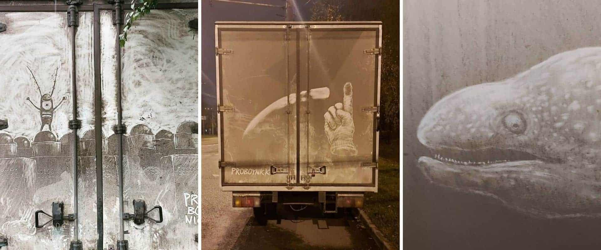 Este artista transforma la suciedad de los vehículos en increíbles obras de arte