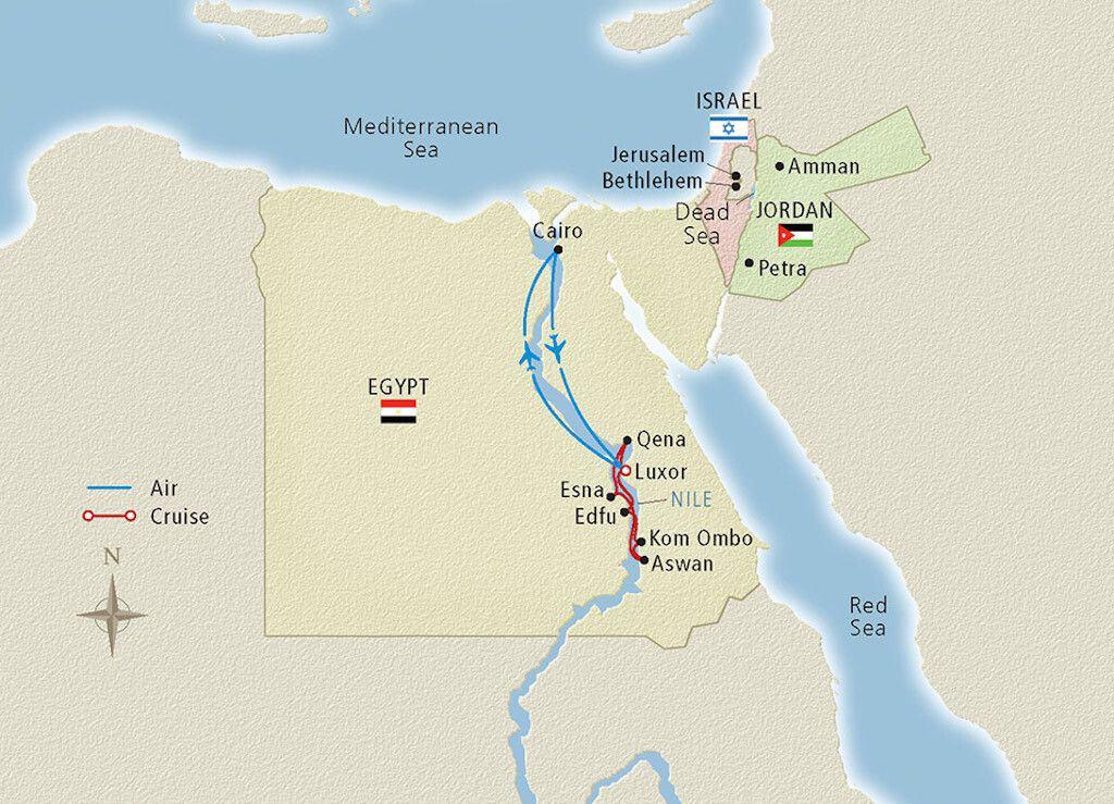 crucero de lujo Viking Cruise Sailing the Nile itinerary 1