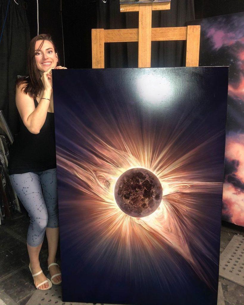 Esta artista dedicó 10 días a recrear un eclipse solar en una espectacular pintura digital