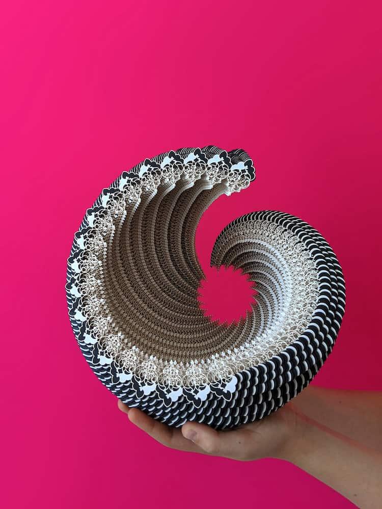 recipientes de papel ibbini studios symbio vessels intricate laser cut paper forms 10