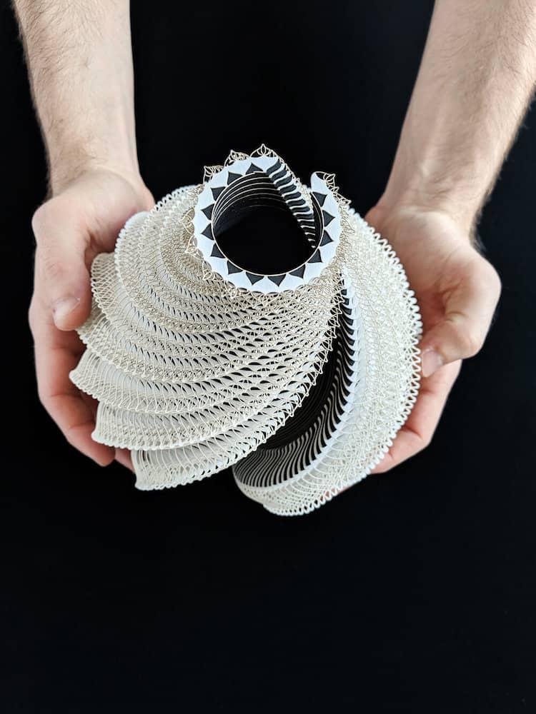 recipientes de papel ibbini studios symbio vessels intricate laser cut paper forms 14