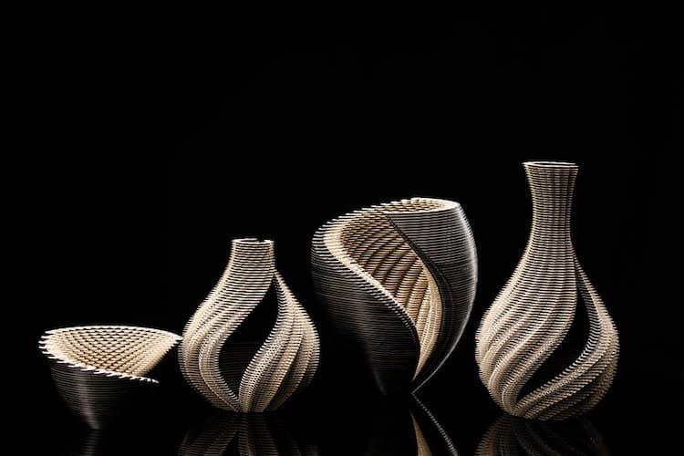 Crean asombrosos recipientes de papel cortados con láser y hechos con fascinantes patrones dibujados a mano