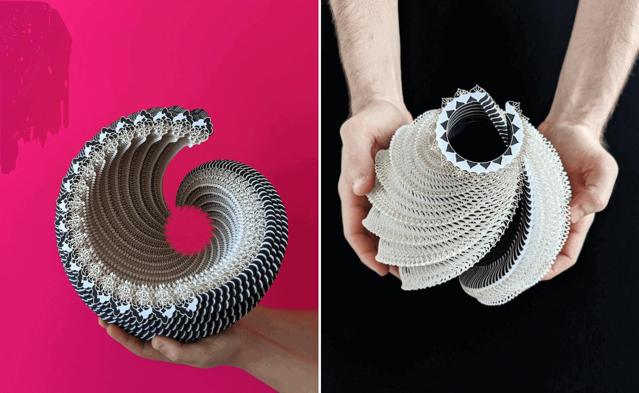 Crean asombrosos recipientes de papel cortados con láser y hechos con fascinantes patrones dibujados a mano (1)