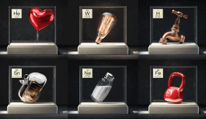 Un diseñador recrea ilustraciones en 3D con los elementos de la tabla periódica y cómo los usamos en la vida cotidiana