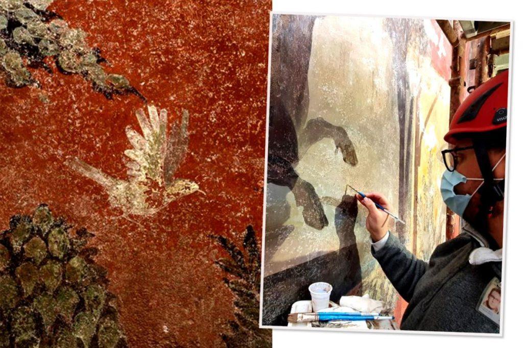 En Pompeya lograron restaurar un enorme fresco con paisajes egipcios