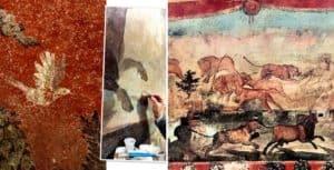 En Pompeya lograron restaurar un enorme fresco con paisajes egipcios que pertenecía a un magistrado romano