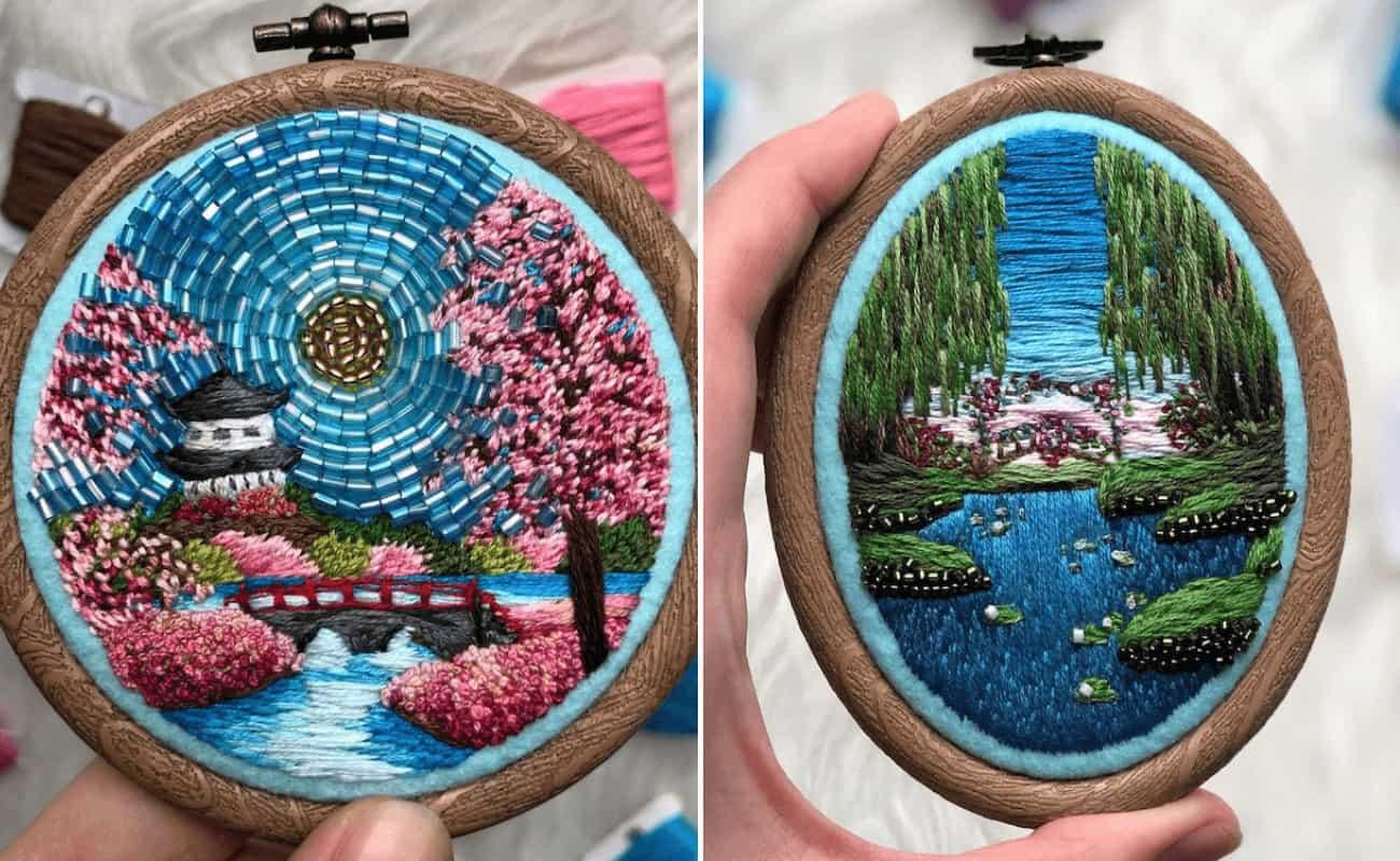 Esta artista rusa recrea los más bonitos paisajes a partir de diseños bordados llenos de cuentas 1