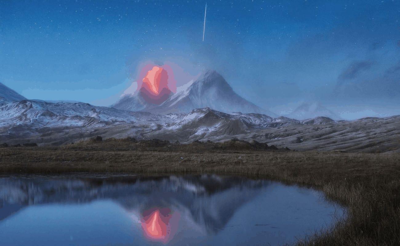 volcán y estrella fugaz