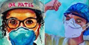 Una artista pintó más de 150 retratos de trabajadores de la salud durante la pandemia