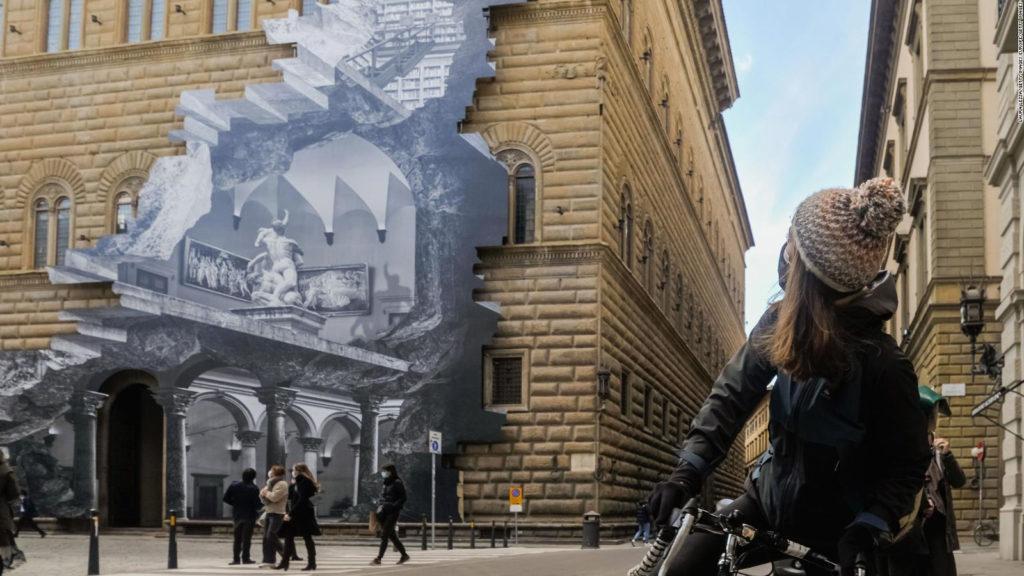 Artista Francés Creó Una Impresionante Ilusión Óptica En La Fachada Del Museo Palazzo Strozzi, En Florencia