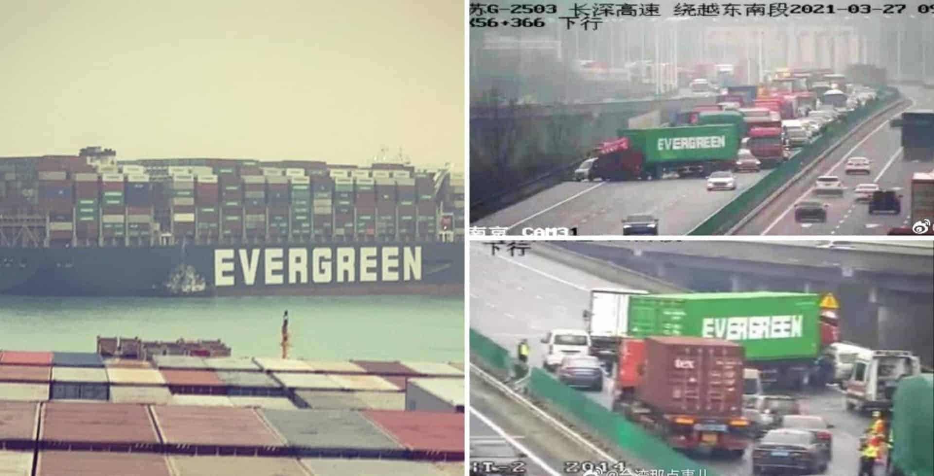 Un camión con cargamento de la misma compañía que el barco del canal de Suez detuvo el tránsito en una autopista