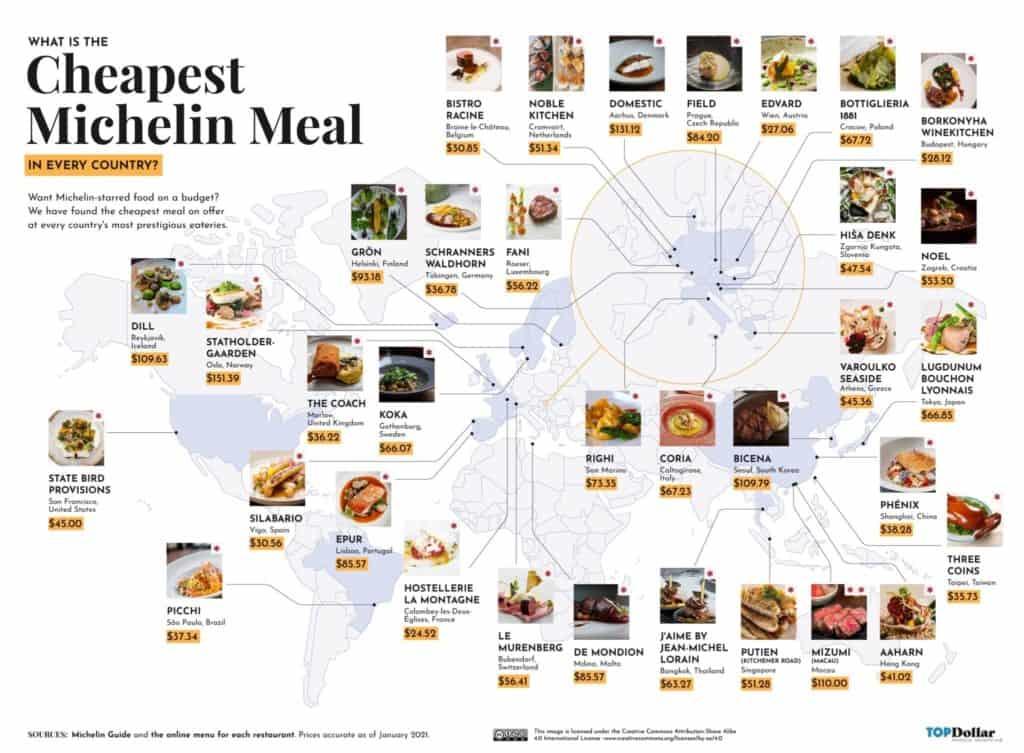 Este mapa muestra los restaurantes con estrellas Michelin más baratos del mundo