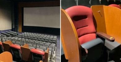 Una sala de cine japonesa incorporó butacas que facilitan el distanciamiento social al momento de mirar películas