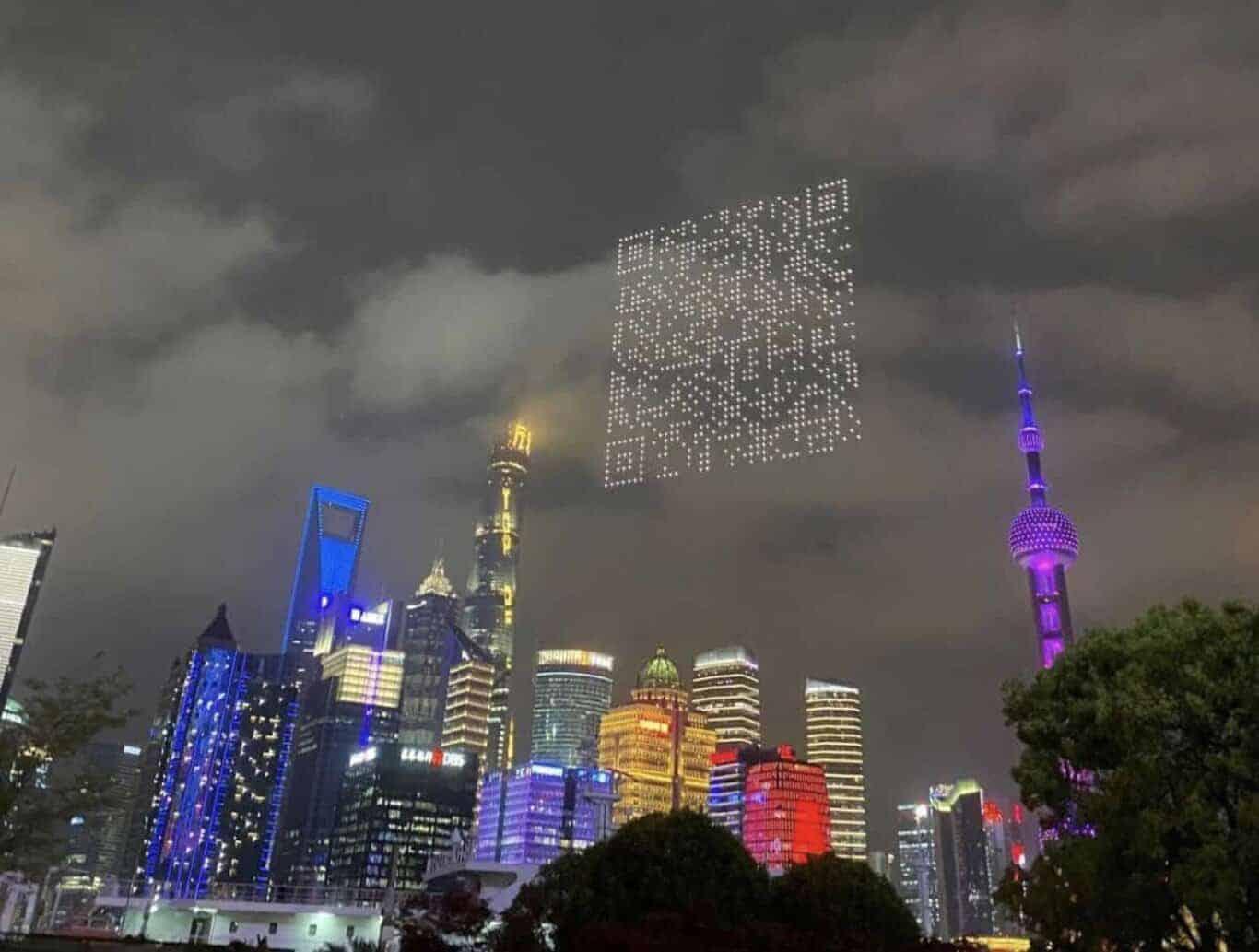 drones-código-qr-gigante-shangai-china