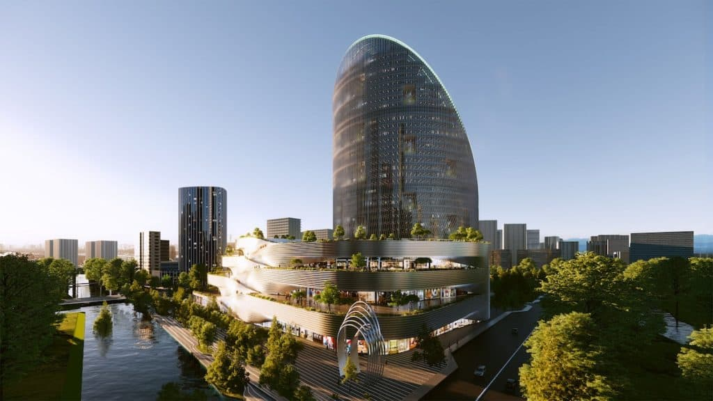imagen construcción futurista BIG bjarke ingel group oppo o tower huangzhou china 8
