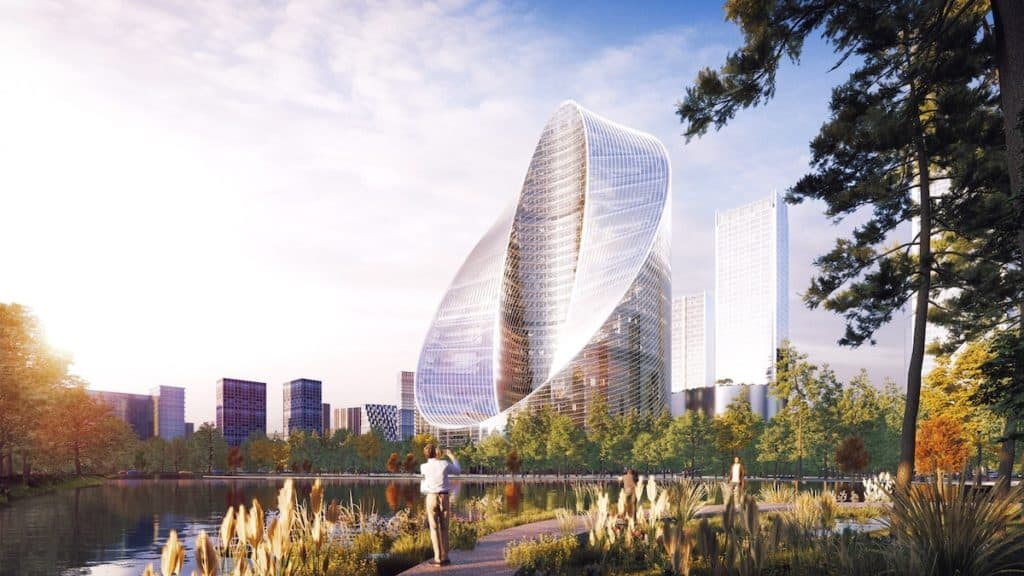 imagen construcción futurista BIG bjarke ingel group oppo o tower huangzhou china 3