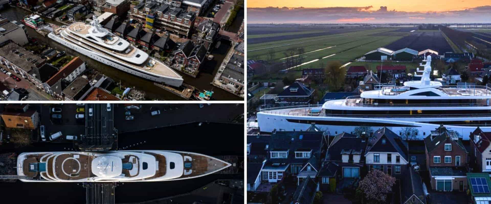 Un superyate recorrió los angostos canales de Países Bajos