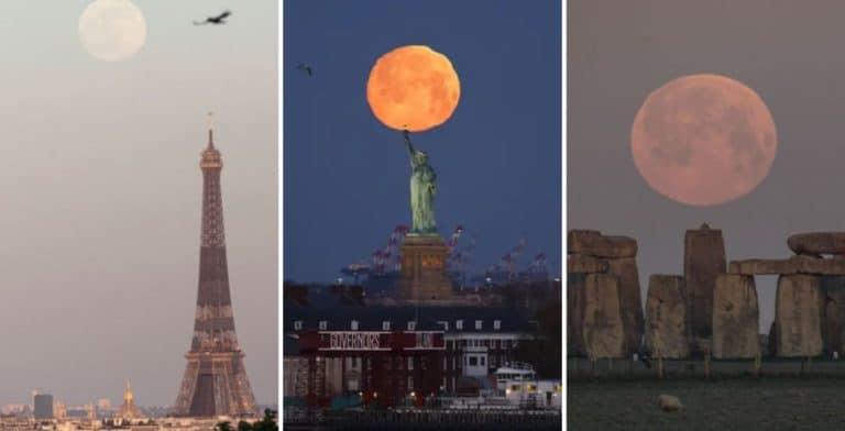[IMÁGENES] Así se vio la superluna rosa en diferentes partes del mundo y en Nueva York, creando una aureola alrededor de la Estatua de la Libertad