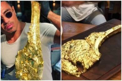 cortes de carne bañados en oro de 24 quilates