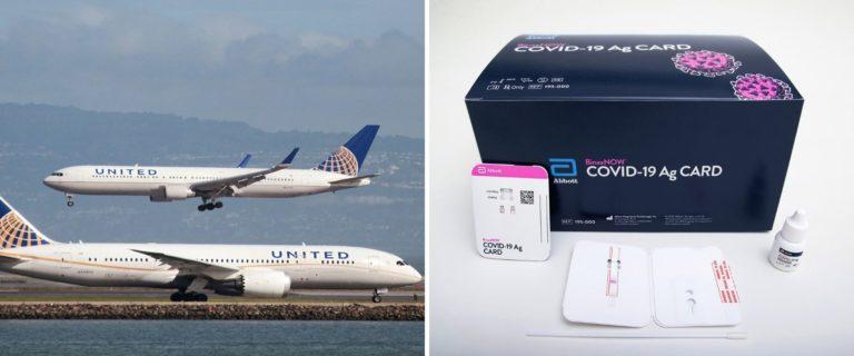 """La aerolínea United presentó el servicio """"Pruebas de COVID en Casa"""" para sus pasajeros"""