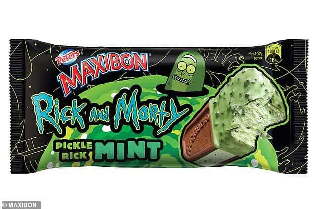 sándwich de helado con sabor a  'Pickle Rick'