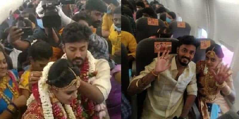 se casaron arriba de un avión