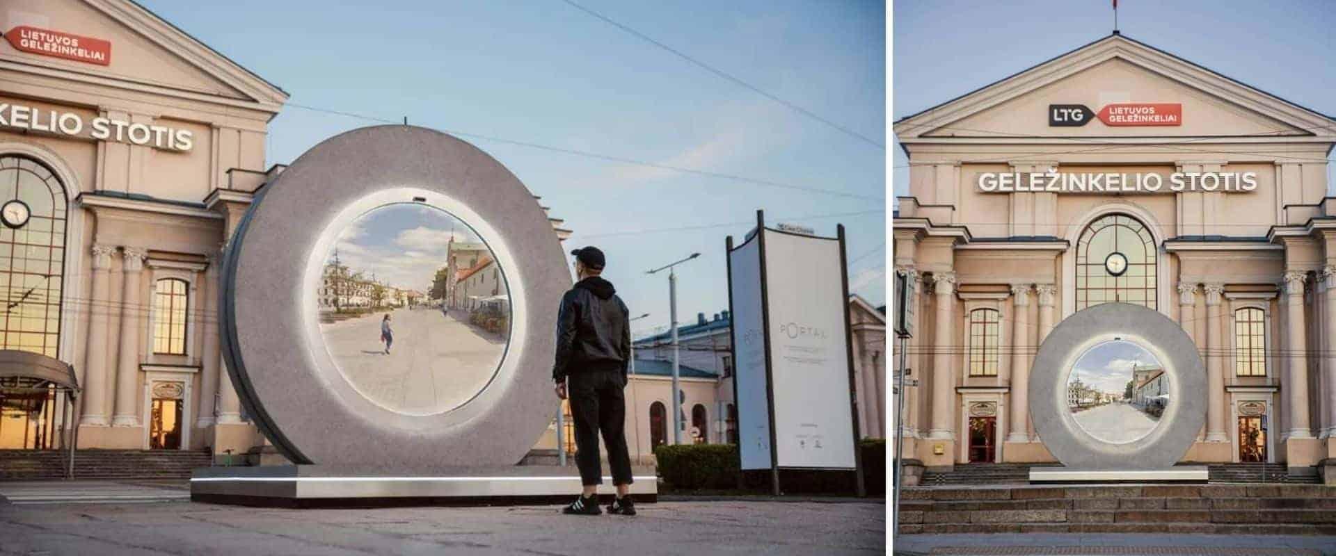 Una ciudad europea construyó un portal hacia otro país para mantener a las personas conectadas