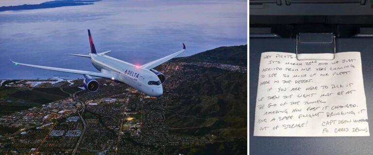 Un piloto de la aerolínea Delta dejó pegada una nota cuando comenzaba la pandemia y fue encontrada 435 días después
