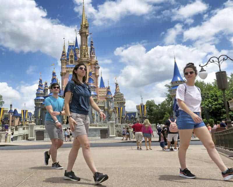 Personas Caminando En Disney World, Al Aire Libre, Sin Mascarilla