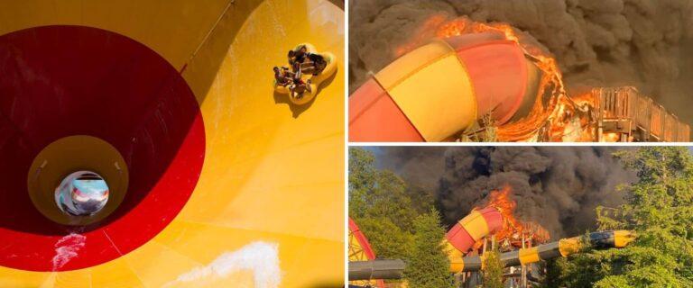 En Estados Unidos se incendió un tobogán de agua cuyo nombre era 'High Anxiety'