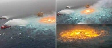 Impresionante incendio en el Golfo de México formó un