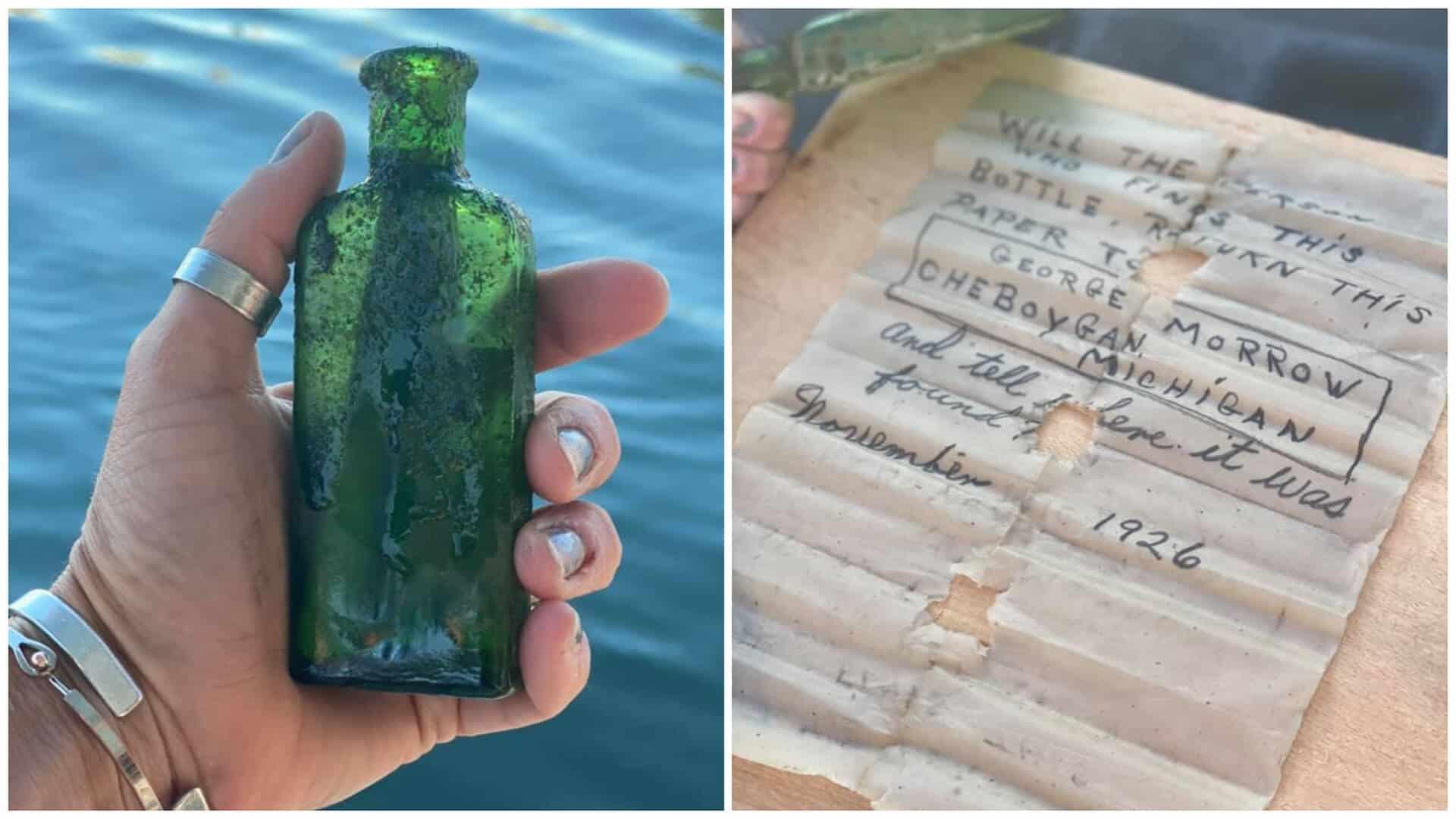 Encontró una botella en el fondo del río con un mensaje de 1926 y decidió cumplir lo que la carta pedía