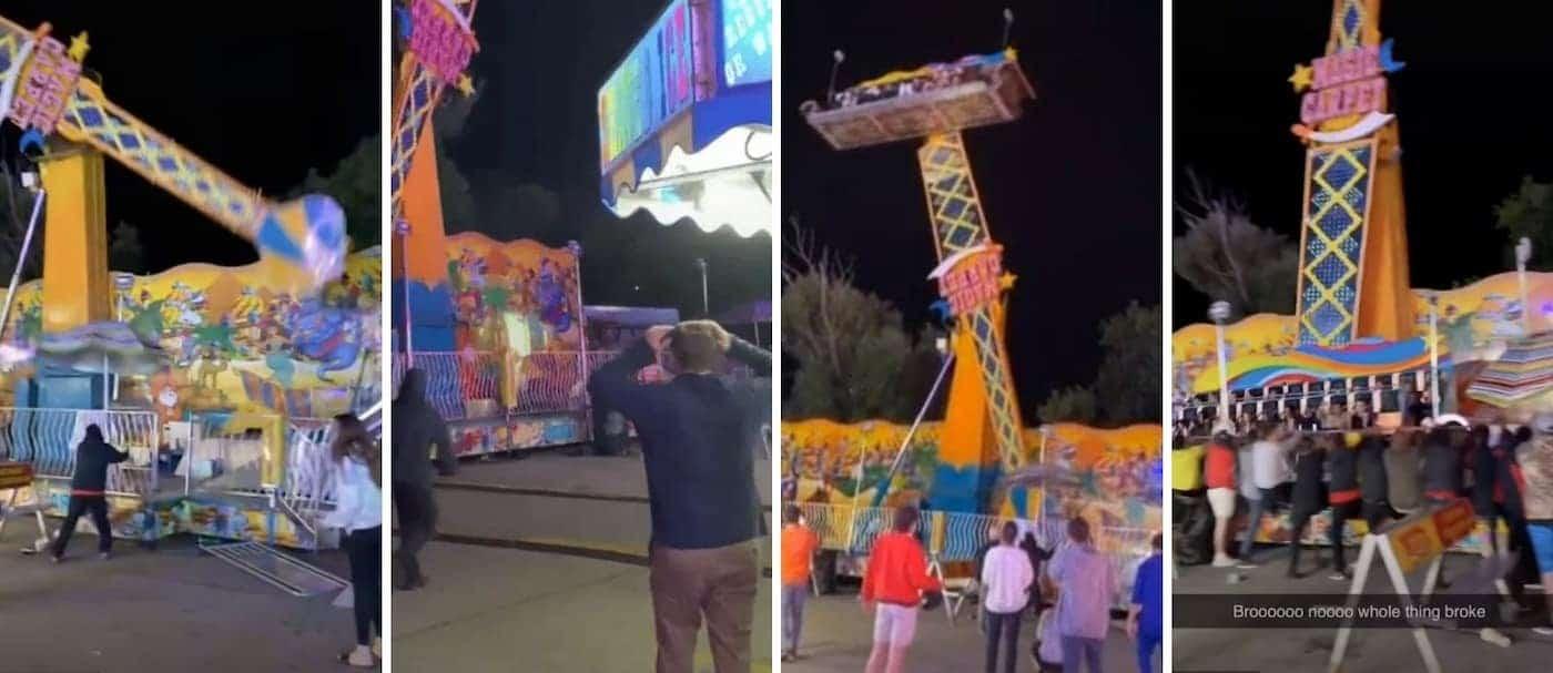 Un grupo de espectadores ayuda a evitar una tragedia por el mal funcionamiento de una atracción en un festival de Estados Unidos