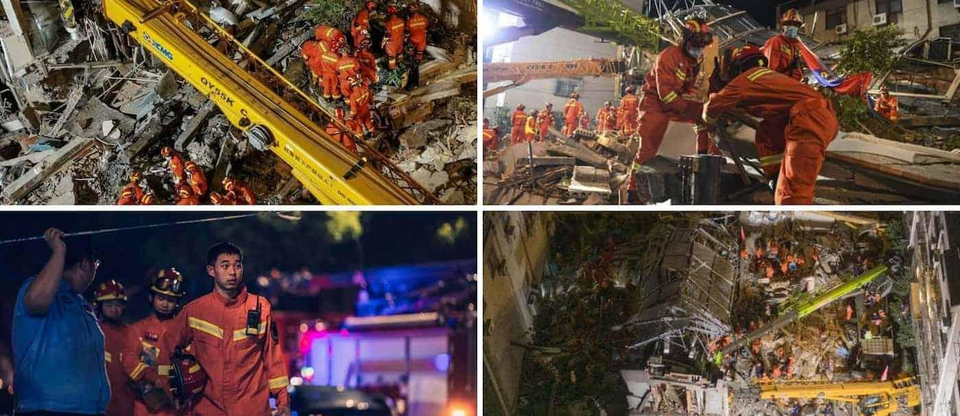 Un hotel colapsó en China, en la provincia de Jiangsu, y hay 9 personas desaparecidas